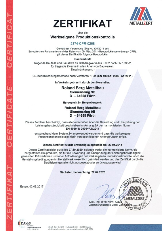 Zertifikat über die Werkseigene Produktionskontrolle